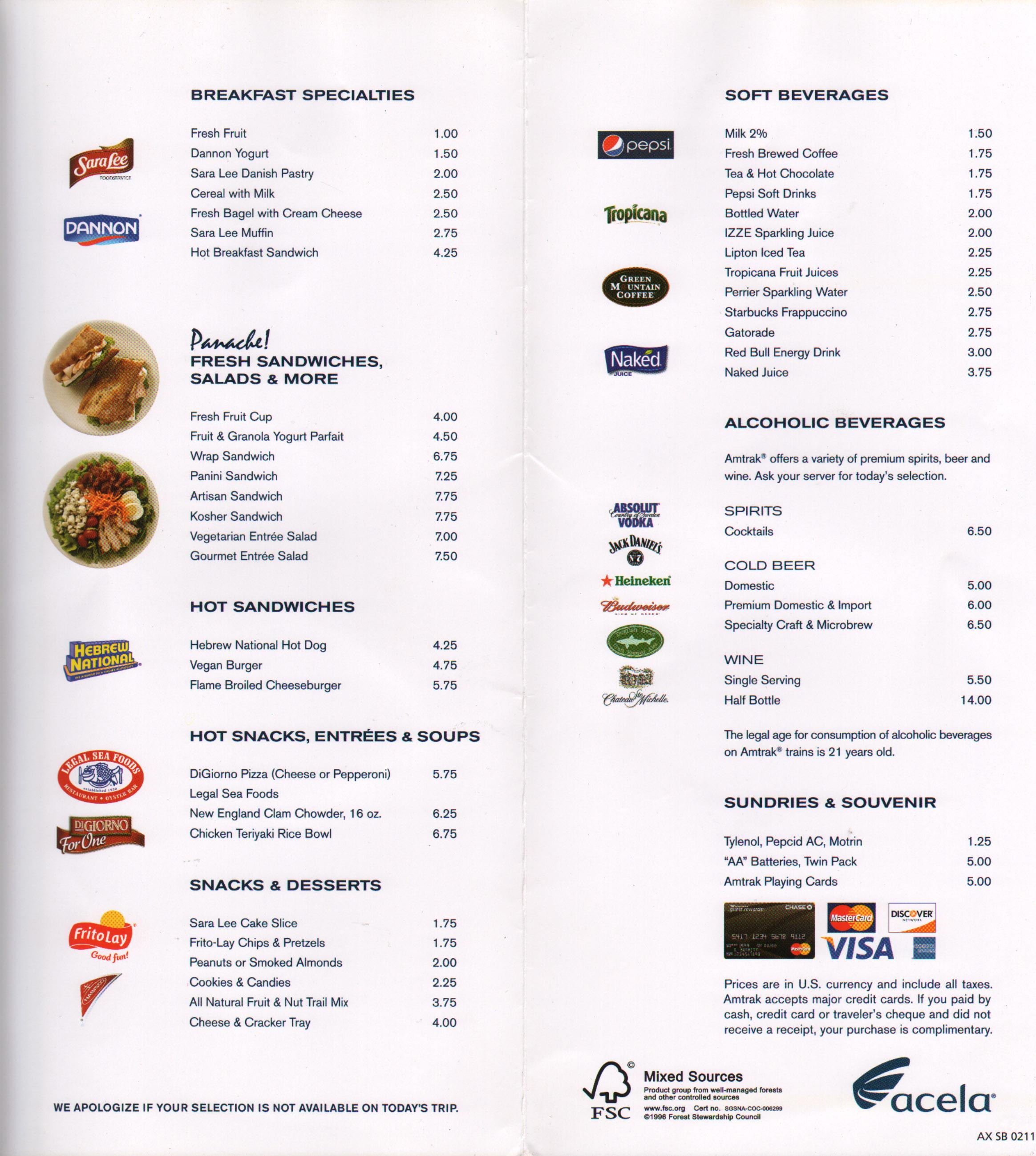 Acela Express Cafe Menu
