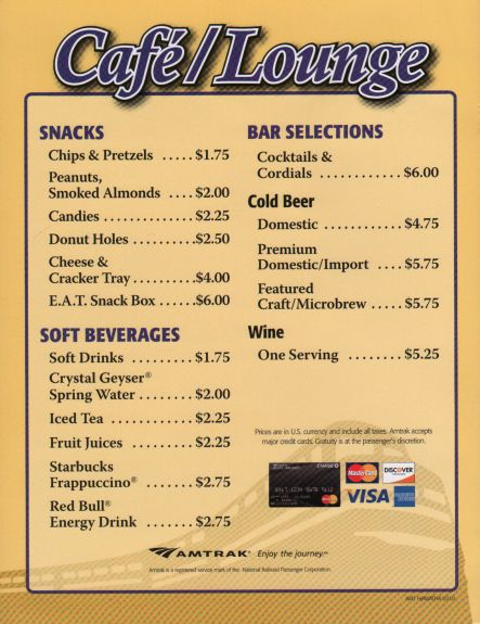 California Zephyr Part 2: Amtrak Menu, Breakfast, Lunch ...   Amtrak Snack Car Menu